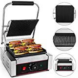 Happybuy Sandwich Press Grill 110V Panini Maker and Grill 1800W Commercial Panini Grill Durable...