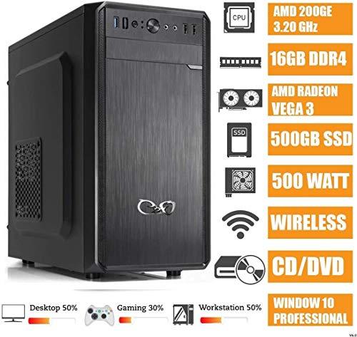 - CeO Alpha V4 - PC Desktop AMD 200GE 3.20GHz 4MB Cache | 16GB Ram DDR4 | 500GB SSD |Scheda Grafica Radeon Vega 3 | FULL HD / 4K | DVD |WI-FI | USB 3.0 | WINDOWS 10 PRO