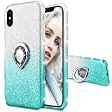 Maxdara Case for iPhone X iPhone Xs Glitter Case Ring Grip Holder Gradient Kickstand Series Bling Sparkle Diamond Rhinestone Bumper Luxury Pretty Girls Women Case X Xs 5.8 inches (Silver Teal)