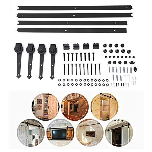 Schiebetürbeschlag Set, Laufschienen für Schiebetür Hängeschiene Schiebetürsystem Zubehörteil mit plattierten Elektrotauchlacken Schienensplei (366cm, Pfeilform C02)