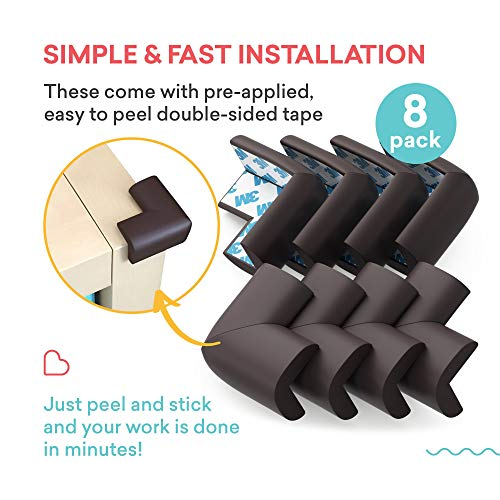 Soft Baby Proofing Corner Guards & Edge Protectors - Pre-Applied 3M tape, 8 PACK