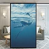 Jzdhlsc Película para Ventana Maravillas del Océano Autoadhesiva Vinilo Cristal Privacidad Ventana Anti UV Lámina para Electrostática 60x90cm