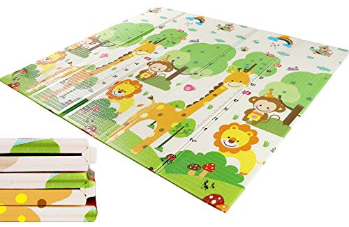 WV WONDER VIEW Baby Playmat Crawling Mat Folding Mat Doble Side Portable Colorful and Waterproof Playmat for Kids Baby and Toddler Thick Extra Large Playmat 79x71x06 inch