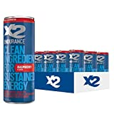 X2 ENDURANCE Raspberry All Natural Healthy Energy Drink, Pack of 12: Great Tasting Non-Carbonated...