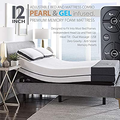 """Blissful Nights Ananda 12"""" Pearl and Cool Gel Infused Memory Foam Mattress with Premium Adjustable Bed Frame Combo, Head Tilt, Massage, USB, Zero Gravity,Anti-Snore"""