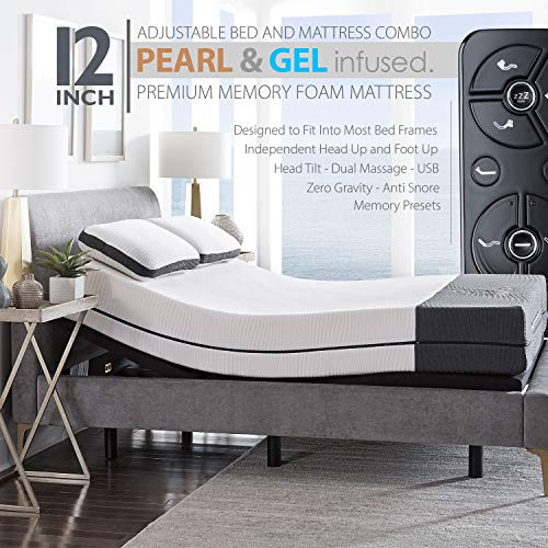 "Ananda 12"" Pearl and Cool Gel Infused Memory Foam Mattress with Premium Adjustable Bed Frame Combo, Head Tilt, Massage, USB, Zero Gravity,Anti-Snore … (Queen)"