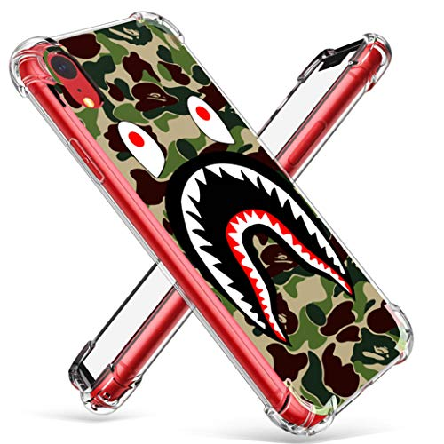 Hiiyorr Shark TPU Case for iPhone XR, Funny Cute Fashion Clear Ultra-Thin Transparent Pattern Designer Protective Cover for Boys Men Teens, Cartoon Trendy Cool Fun Bumper Skin for iPhone XR 6.1 inch