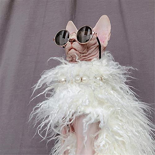 HCYD Weiße warme Katzenkleidung Sphinxkatzenkleidung Persönlichkeitswolle, XS