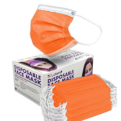 4-Ply Breathable Disposable Face Mask - Made in USA - Comfortable Elastic Ear Loop Multiple Colors (10, Tangerine Orange)