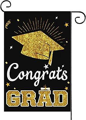 Graduation Garden Flags - Congrats Grad Yard Sign 12.5 x 18 Inch Double Sided Diploma Cap Flags Yard Outdoor Decorations Burlap Banner Decorative Garden Sign