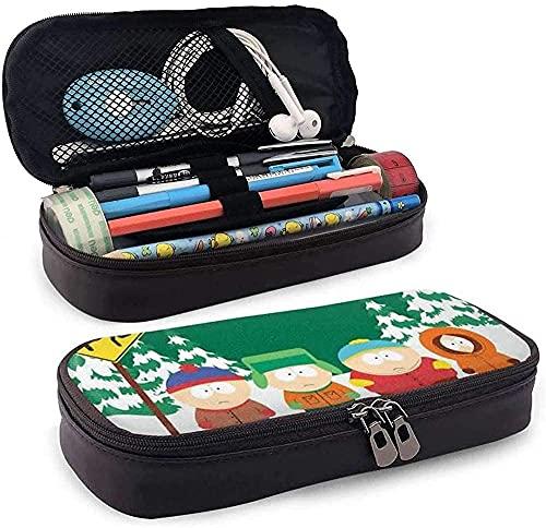 South Park Snow - Estuche de piel de gran capacidad, multifunción, bolsa de almacenamiento con cremallera, para estudiantes, papelería, regalo de oficina