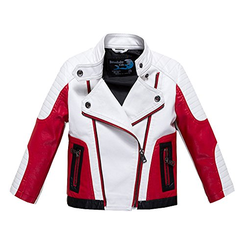 Budermmy Boys Leather Motorcycle Pilot Jackets Toddler Coats White Size 8