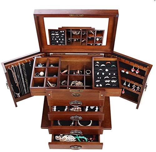 OH Caja de Joyería de Madera Multifuncional 4 Dibuje la Cerradura Y el Espejo de la Llave Caja de Joyería Forrada de Joyería de Joyería Portátil/Color nogal/Talla única