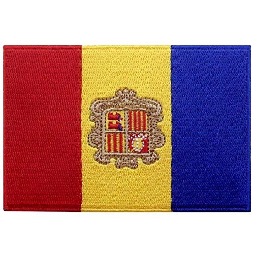 EmbTao Andorra Flagge Bestickter Aufnäher zum Aufbügeln/Annähen