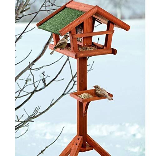 Vogelhaus mit Ständer Holz - wetterfestes Futterhaus für Wildvögel mit Schutzdach & Draht-Silo