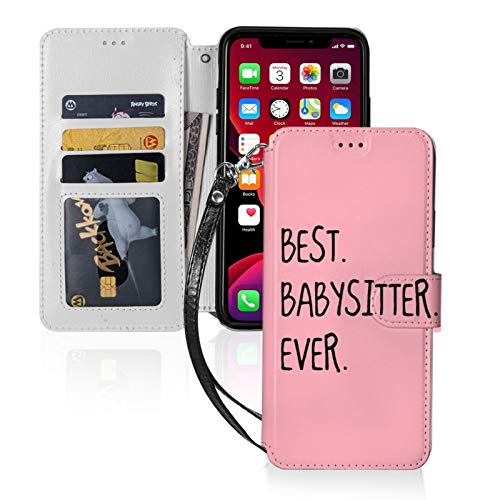 Best Babysitter Ever for iPhone 11 Wallet Case with Card Holder, Kickstand Function, TPU Durable Shockproof, PU Leather Magnetic Closure Protective Flip Cover Case for 2019 iPhone 11(6.1 inches)