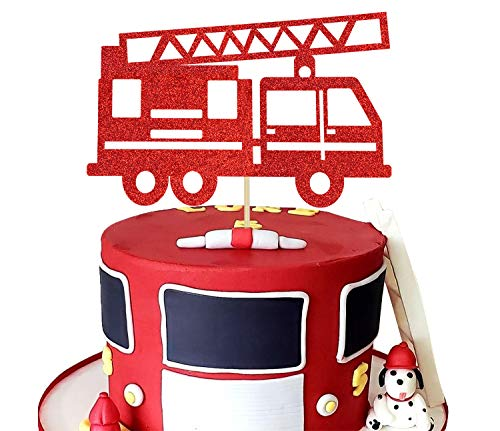 KAPOKKU Fire Truck Cake Topper Glitter Fireman Themed Party Decoration Firefighter Graduation or Birthday Party Supplies