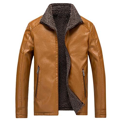 MAYOGO Herren Jacke Warmer Fleece Innen Plus Samt Kunst- Lederjacke Full-Zip Winterjacke Biker Motorradjacke Lederimitat Jacke Bomba Jacke Bomber Jacke (Gelb, M)