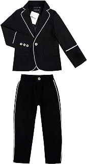 ALLAIBB 子供 男の子 スーツ 140 タキシード フォーマル 子供スーツ タキシード入学 入園スーツ size 110 (ブラック)
