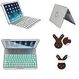 iPad Airケースwithキーボード、BORIYUANポータブルスリムアルミニウムIlluminatedフリップフォリオABSワイヤレスBluetoothキーボードケースカバースタンドキャリーシェルfor Apple iPad Air / iPad 5withカラフルなバックライト付き–カラーシルバー