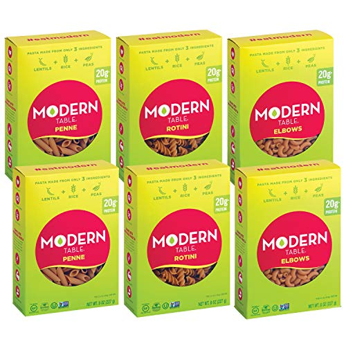 Modern Table Complete Protein Lentil Pasta, Variety Pack, (2) of Each Pasta Shape (Elbows, Penne, Rotini), 8oz, 6 Count, Gluten Free, No Artificial Preservatives