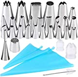 Gyvazla 32 Pcs Cake Decorating Set, 25 Stainless Piping Nozzles and More Accessories for Cake DIY