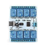 Akozon Type-B USB リレーボードモジュールコントローラー 8チャンネル 12VDC 自動化ロボット用