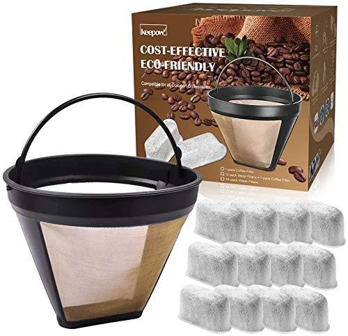 KEEPOW Kaffee-Dauerfilter, Wiederverwendbar Gr.4 ist für Kaffeemaschinen von 8-12 Tassen, Passt alle Maschinen Größe 4