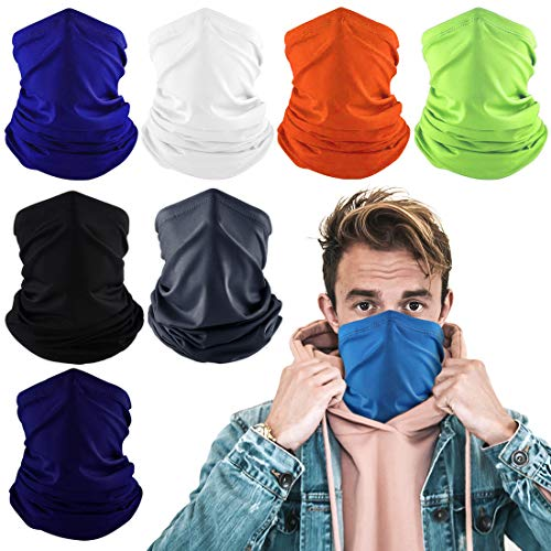 Konikit 8Pcs Neck Gaiter Cooling Face Covering for Men Women Summer Neck Gator Face Mask for Dust Outdoor