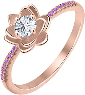 Lotus Flower Round White Diamond & Amethyst 14K Gold Plated Women's Engagement Band Ring Sterling Silver