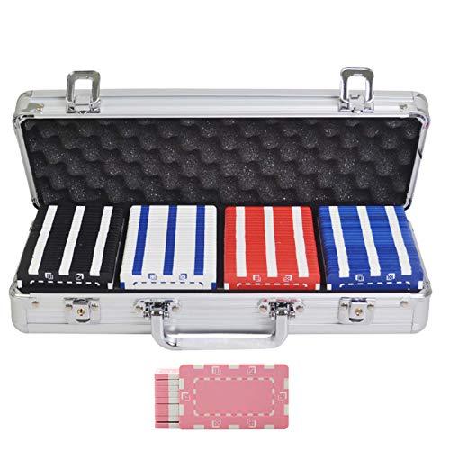 Bueuwe Pokerchips-Set Für Texas Hold'em, Mit Aluminium-Tragetasche, Professionelles Rechteck Schwere 32-Gramm-Composite-Casino-Chips,A,100PCS