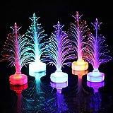 SAMTITY Mini árbol de Navidad LED, 7 Colores Que cambian el árbol de Navidad de Fibra óptica, luz LED Multicolor Árbol de Navidad Lámpara de Fibra óptica Regalo de decoración del hogar