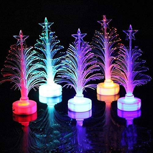 Luci notturne a LED in fibra ottica per alberi di Natale, Albero di Natale a fibre ottiche con fuochi dartificio a LED con luci a LED che cambiano colore con supporto, per lufficio di casa per auto