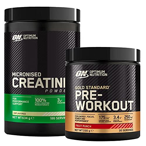 Optimum Nutrition Gold Standard Pre Workout con Caffeina Mix di Frutta 330g 30 Porzioni + Micronised Creatine Monohydrate per la Performance Non Aromatizzato 634g 186 Porzioni
