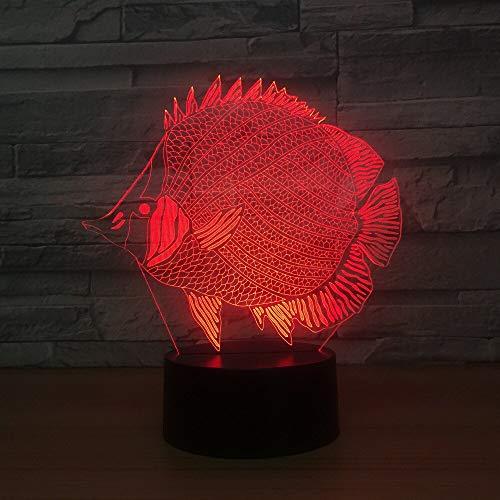 Pomfret Fish Led 3D Nightlight Touch Usb Led 3D Lámpara 7 colores que cambian el estado de ánimo Lámpara de atmósfera para niños Regalo creativo