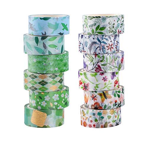 Washi - Juego de 12 rollos de cinta adhesiva decorativa para manualidades,...