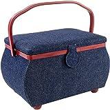 PRYM Sewing Basket Rectangle-12.75'X7.625'X7.75' Denim W/Red Trim