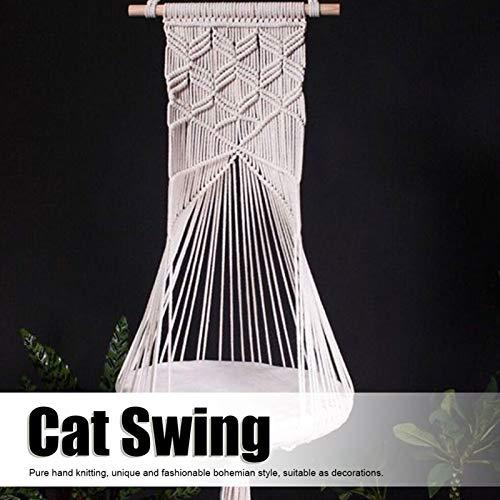 Wosune Nidos de Gato, Columpio de Gato, Accesorio para Mascotas Tejido a Mano Hamaca de Gato Colgante Tejido a Mano Nido de Gato Colgante Nido de Gato Tejido a Mano para el hogar