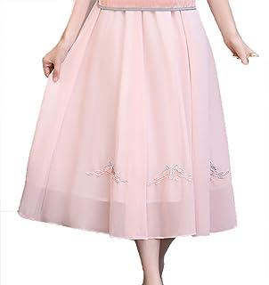 レディース 七分袖 トップス 刺繍 スカート Aライン ロング ピンク M-XXL