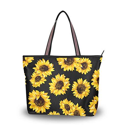 Ahomy Travel Tote Bag Watercolor Sunflower Shoulder Bag Large Handbag...