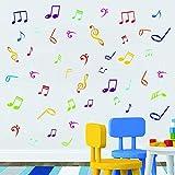 Calcomanías de pared de notas musicales, letrero musical, letra y cita, pegatinas de pared, de vinilo extraíble, para aula, estudio de grabación, decoración del hogar