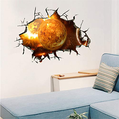 Asade Star Series Floor Wall Sticker Removable Space Wall Decals Boy Room Outer Space Nursery Wall Sticker Decor Rocket Ship 3D