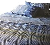 Zucchi Gesteppte Tagesdecke für französisches Bett, gestreift, Frühlings-Baumwolle, Indi, mehrfarbig oder beige (mehrfarbig)