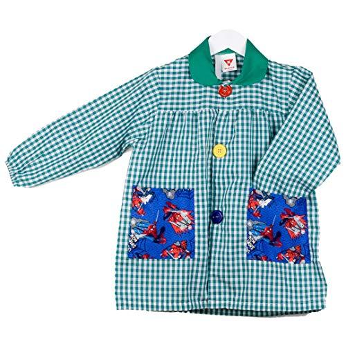 KLOTTZ Tablier Blouse Spiderman pour Enfants à Carreaux. Puor l école e travaux manuels. Garçon Vert