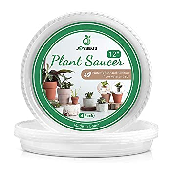 JOYSEUS Plant Saucers - 12 inch - Durable Plastic Plant Tray for Flower Pots Clear Plant Saucer for Indoor Plants Pots & Outdoor Plants  4 Pack