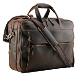 Polare Men's Thick Full Grain Leather 15.7' Laptop Business Briefcase