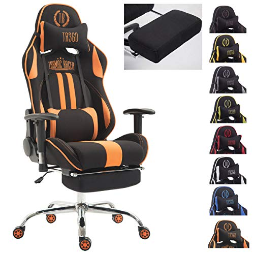 Silla Racing XL Limit En Tela I Silla Gaming con Base De Metal I Silla De Ordenador Altura Regulable I Silla Gamer Giratoria I Color:, Color:Negro/Naranja, Reposapies:con reposapies