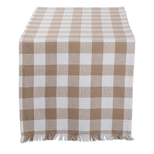 DII CAMZ10443 Table Runner, 14 x 72, Checkered Stone Brown