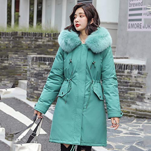 WJFGGXHK Women'S Down Jackets,Fashion Long Fur Collar Slim Hooded With Pockets Zipper Design Green Winter Down Jacket Warm Large Size Lightweight Puffer Jacket Clothing For Simple Adult Women