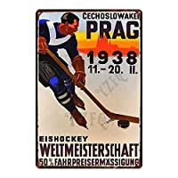 ホッケースポーツヴィンテージプラークフィットネスティンメタルサインウォールパブカフェショップホームアートジムデコレーション-20x30cm